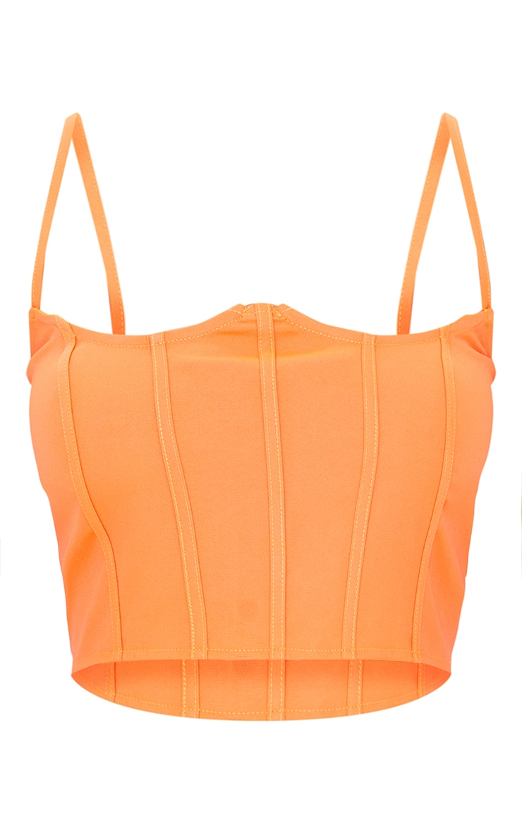 Petite Orange Corset Seam Detail Strappy Crop Top 5