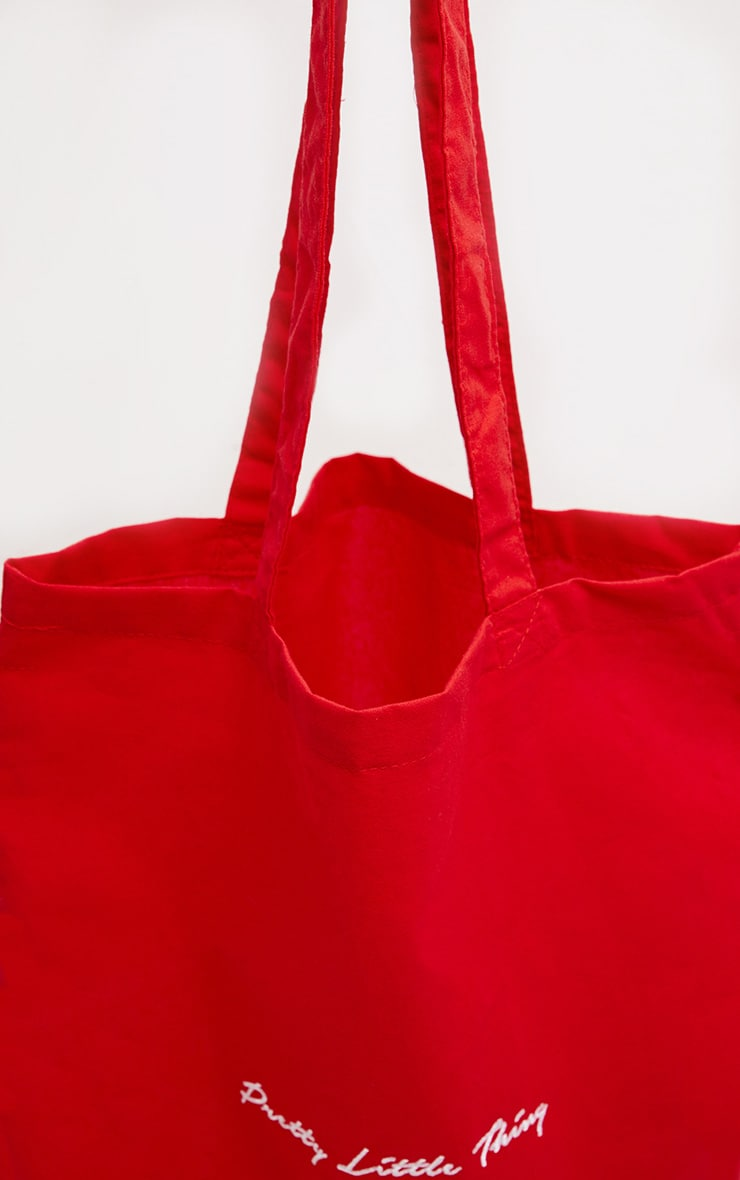 PRETTYLITTLETHING Bright Red Tote Bag 3