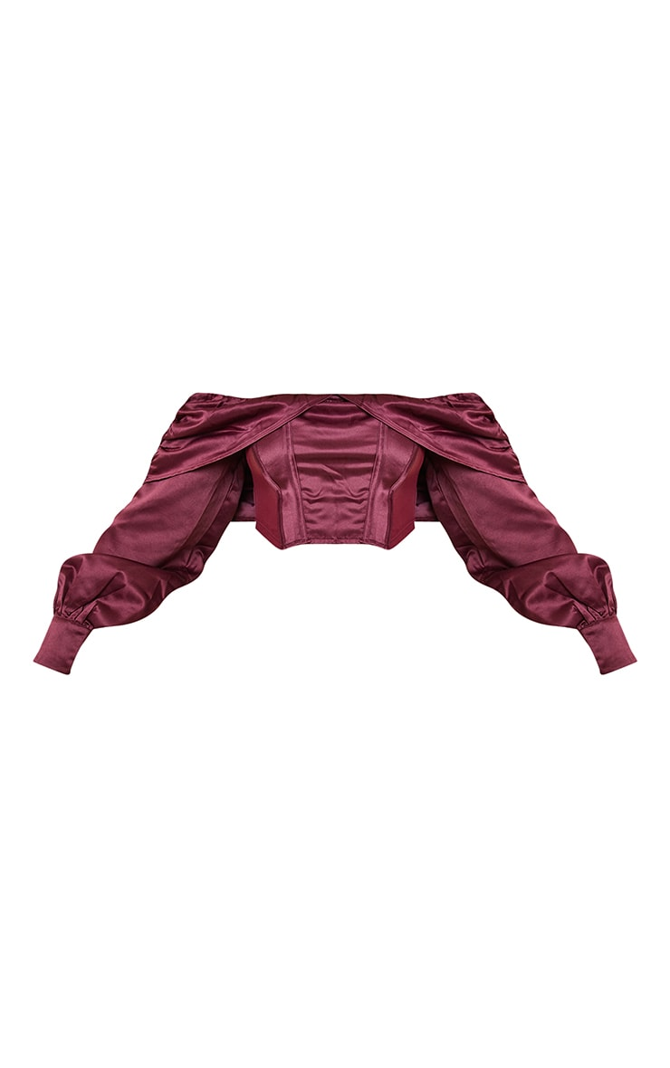 Burgundy Satin Drape Detail Bardot Long Sleeve Crop Top 5