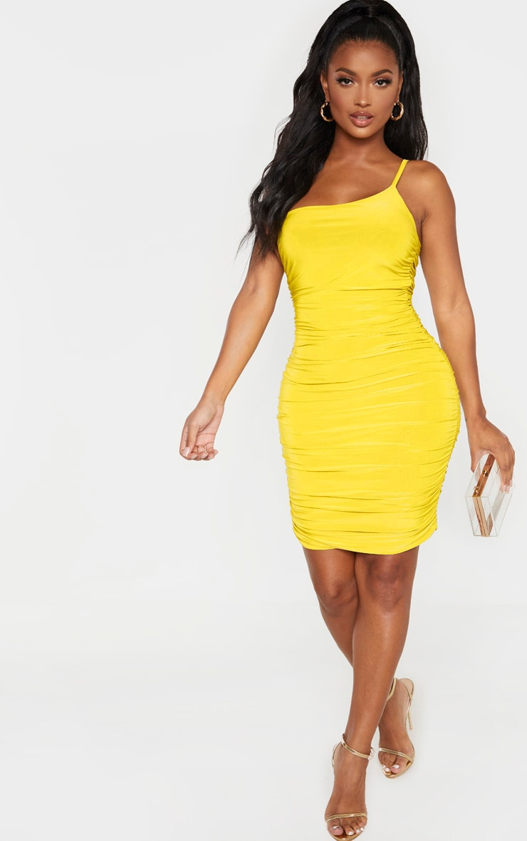 Shape Chartreuse Slinky Ruched Asymmetric Bodycon Dress 4