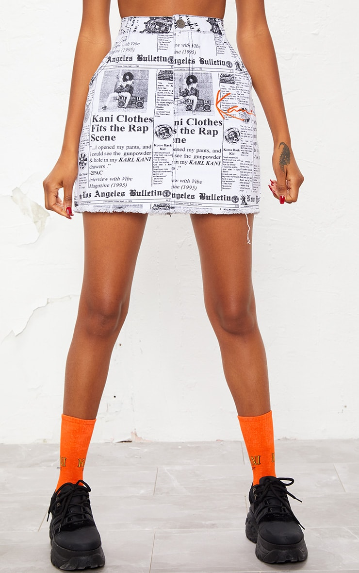 KARL KANI Monochrome Newspaper Bodycon Denim Skirt 3