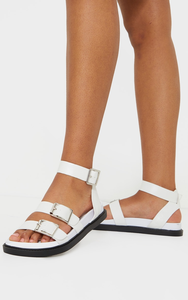 White PU Square Buckle Detail Sandals 2