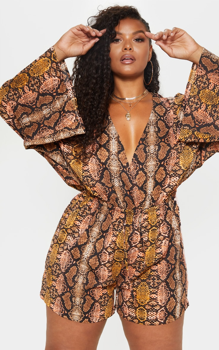 Plus Snake Print Flare Sleeve Playsuit 1