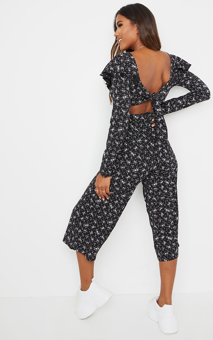 Black Ditsy Long Sleeve Tie Back Culotte Jumpsuit 2