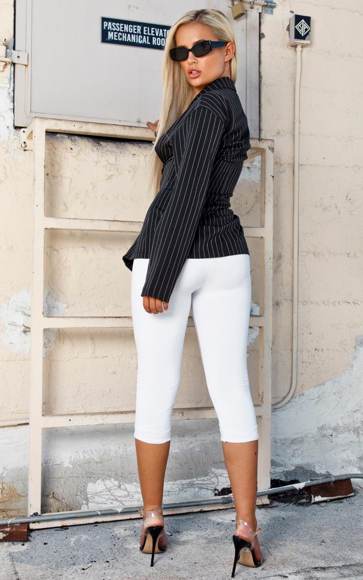Black Pinstripe Lace Up Corset Shirt 2