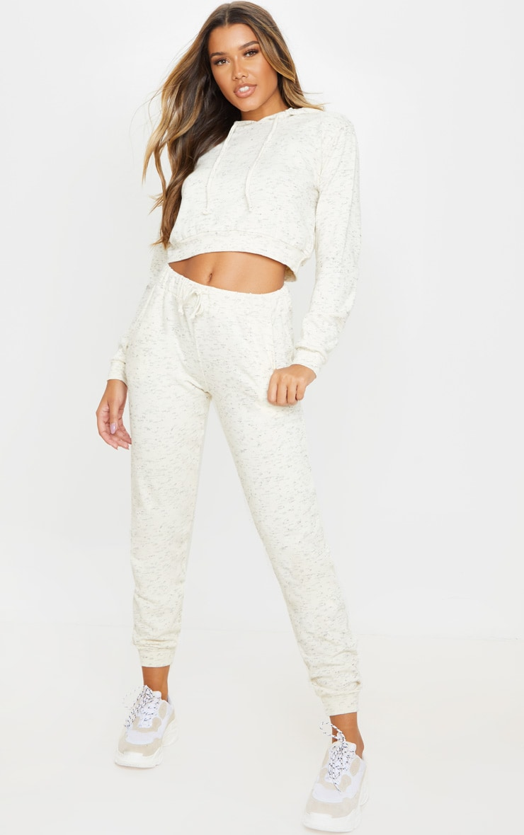 Cream Marl High Waisted Joggers 1
