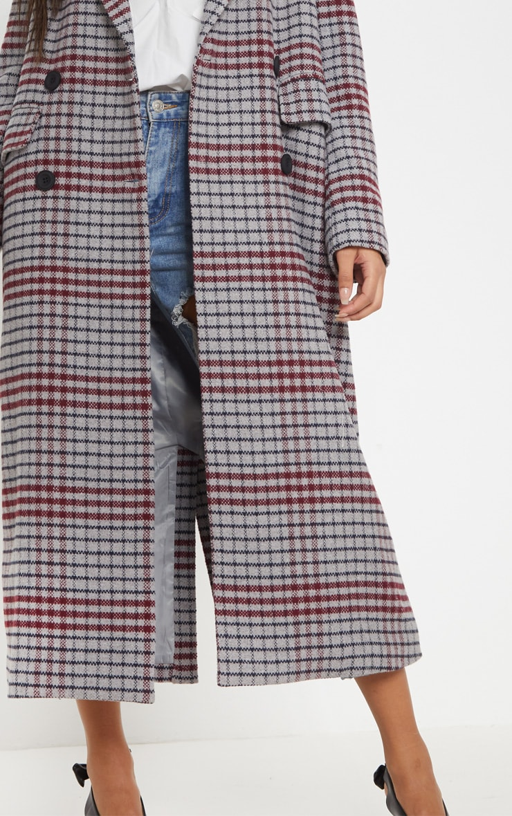 Grey Check Maxi Coat  5