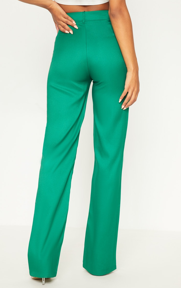 Green High Waisted Straight Leg Pants 4