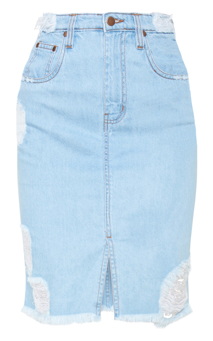 Light Wash Distressed Hem Midi Denim Skirt 3