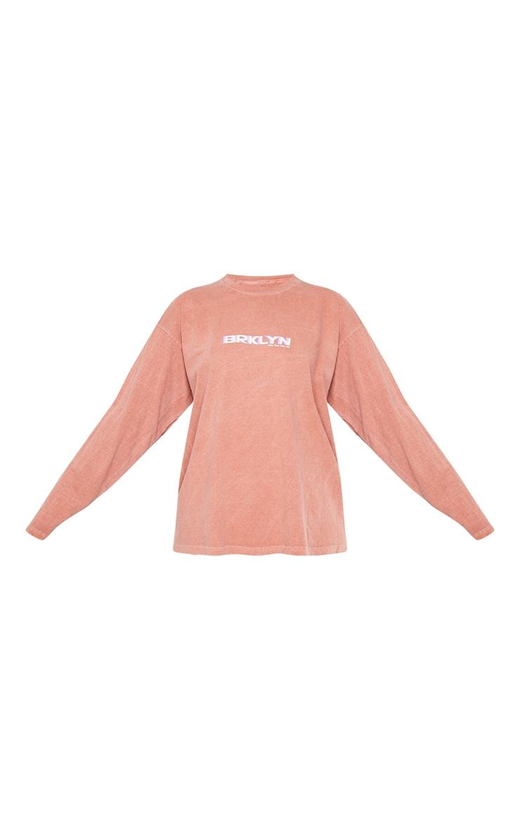 Rust Print Oversized Washed Long Sleeve T Shirt 5