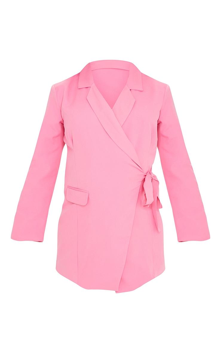 Maternity Pink Tie Side Blazer Dress 5