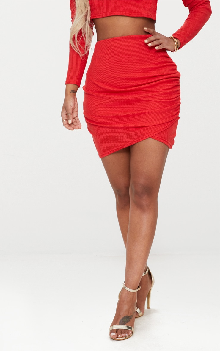 Shape Red Ribbed Bodycon Skirt 2