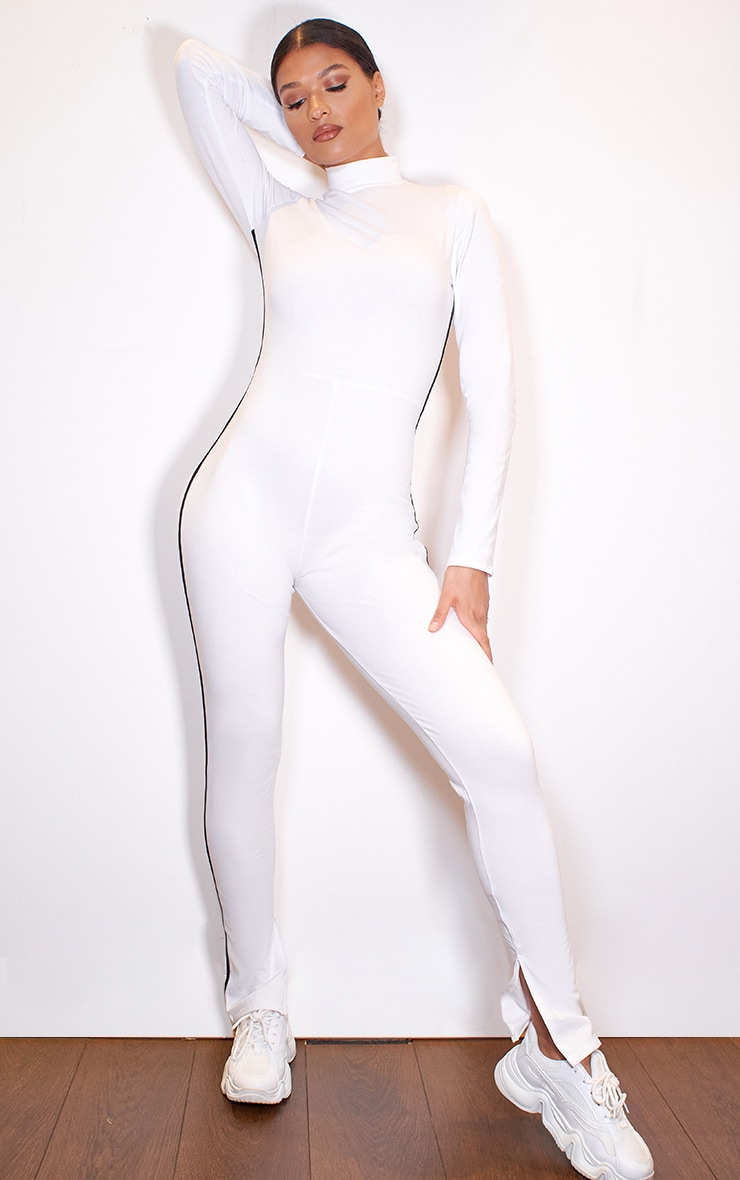 White Sports Stripe High Neck Jumpsuit 3