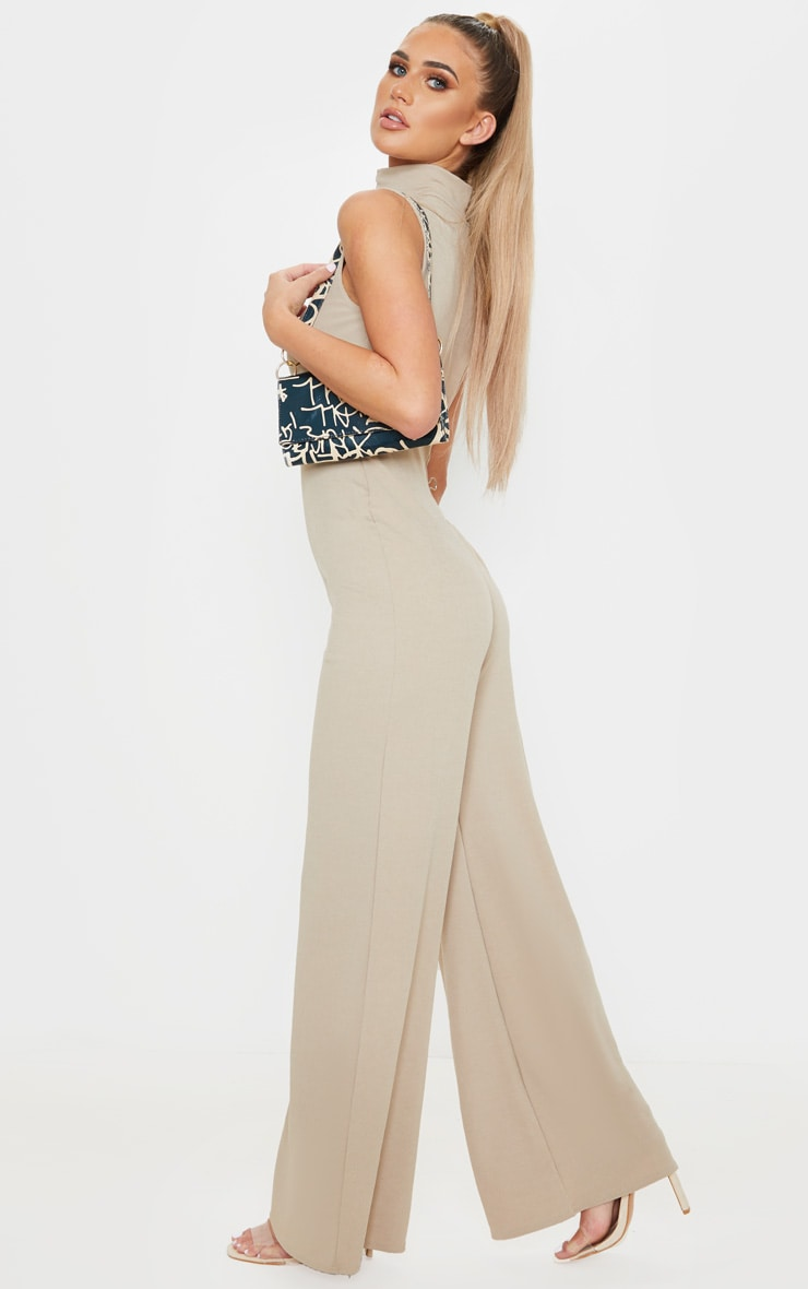 Stone High Neck Wide Leg Rib Jumpsuit 4