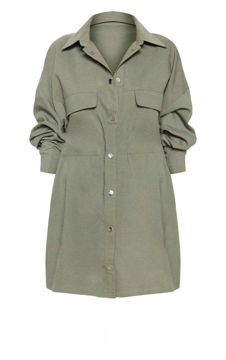 Khaki Cargo Oversized Popper Front Shirt Dress 3