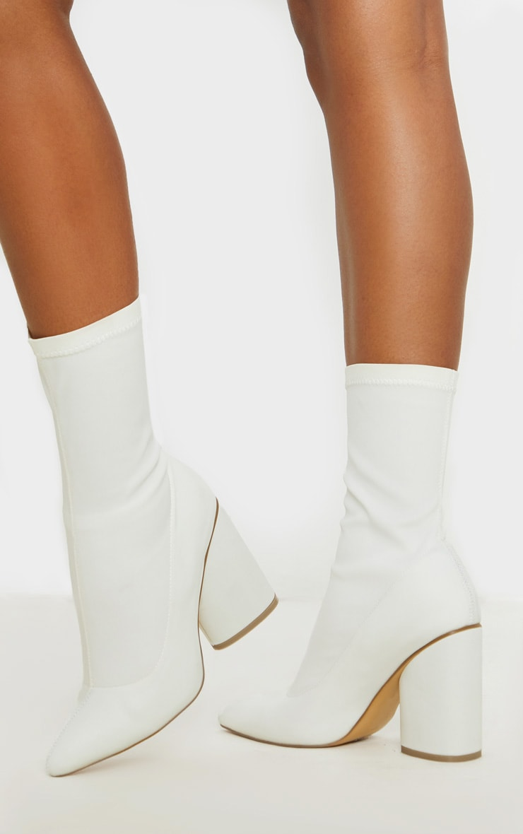 White Chunky Block Heel Sock Boot 2