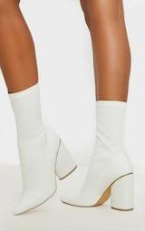 White Chunky Block Heel Sock Boot 2