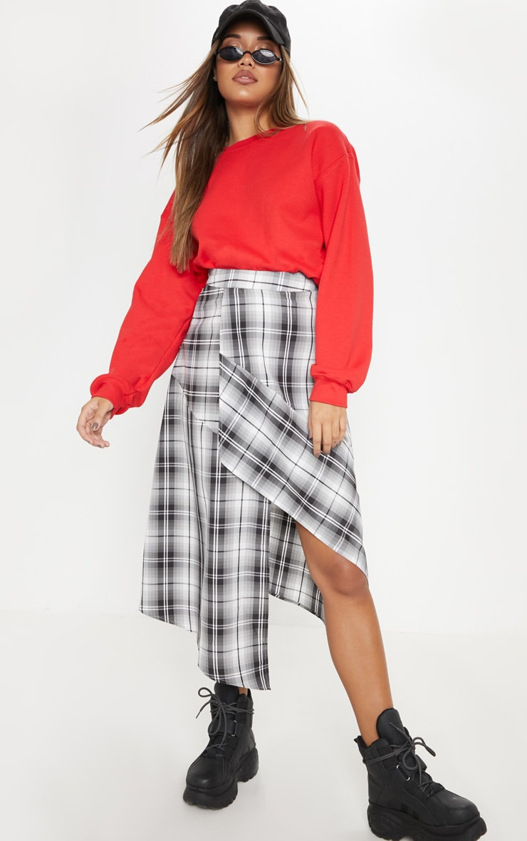 Grey Asymmetric Check Wrap Midi Skirt  1