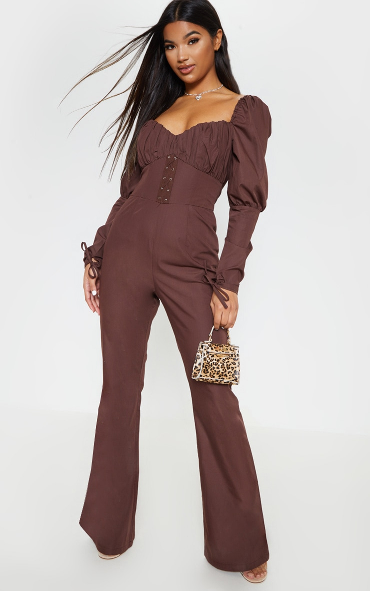Chocolate Puff Sleeve Lace Up Waist Jumpsuit 1
