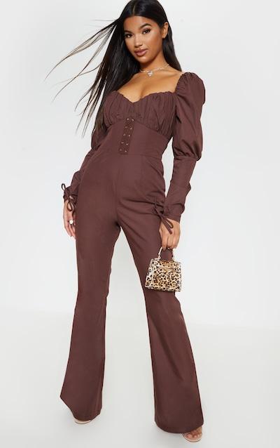 8274cbf7182 Chocolate Puff Sleeve Lace Up Waist Jumpsuit