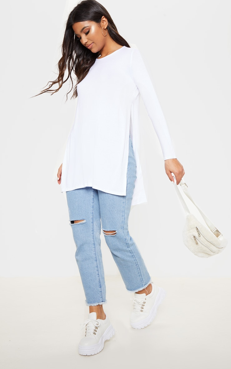Tamsyn White Long Sleeve Side Split Top 4