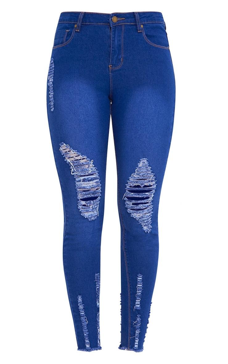 Bright Blue Wash Distress Cut Hem Skinny Jean 3