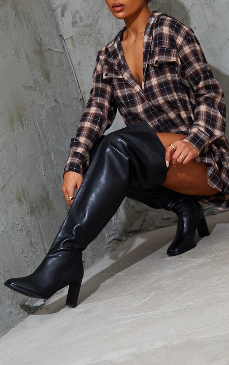 Black Wide Fit High Flat Block Heel Over The Knee Boot 2