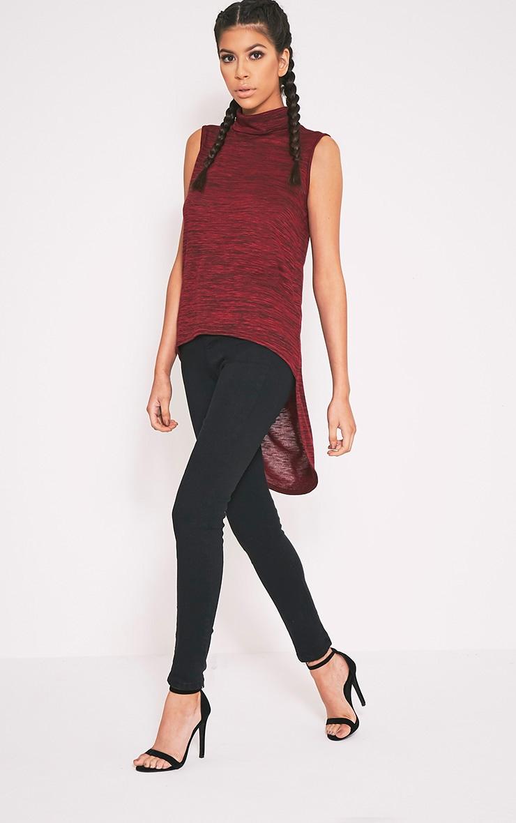 Andria Red Halterneck Curved Hem Bodycon Dress 3