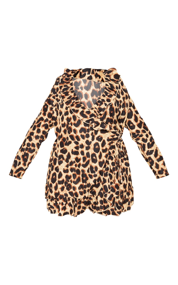 Plus Leopard Ruffle Wrap Dress 3