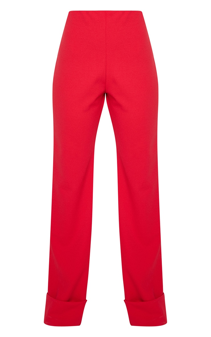 Red Crepe Deep Turn Up Wide Leg Trouser 3
