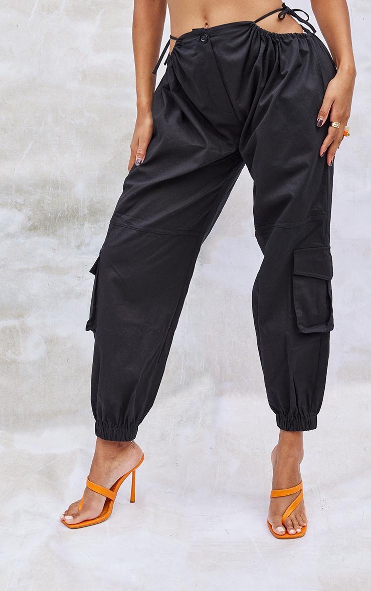 Black Woven Cut Out Tie Detail Pocket Joggers 2