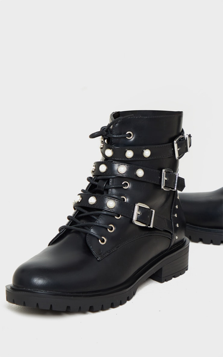 Black Pearl Detail Triple Strap Biker Boot 4