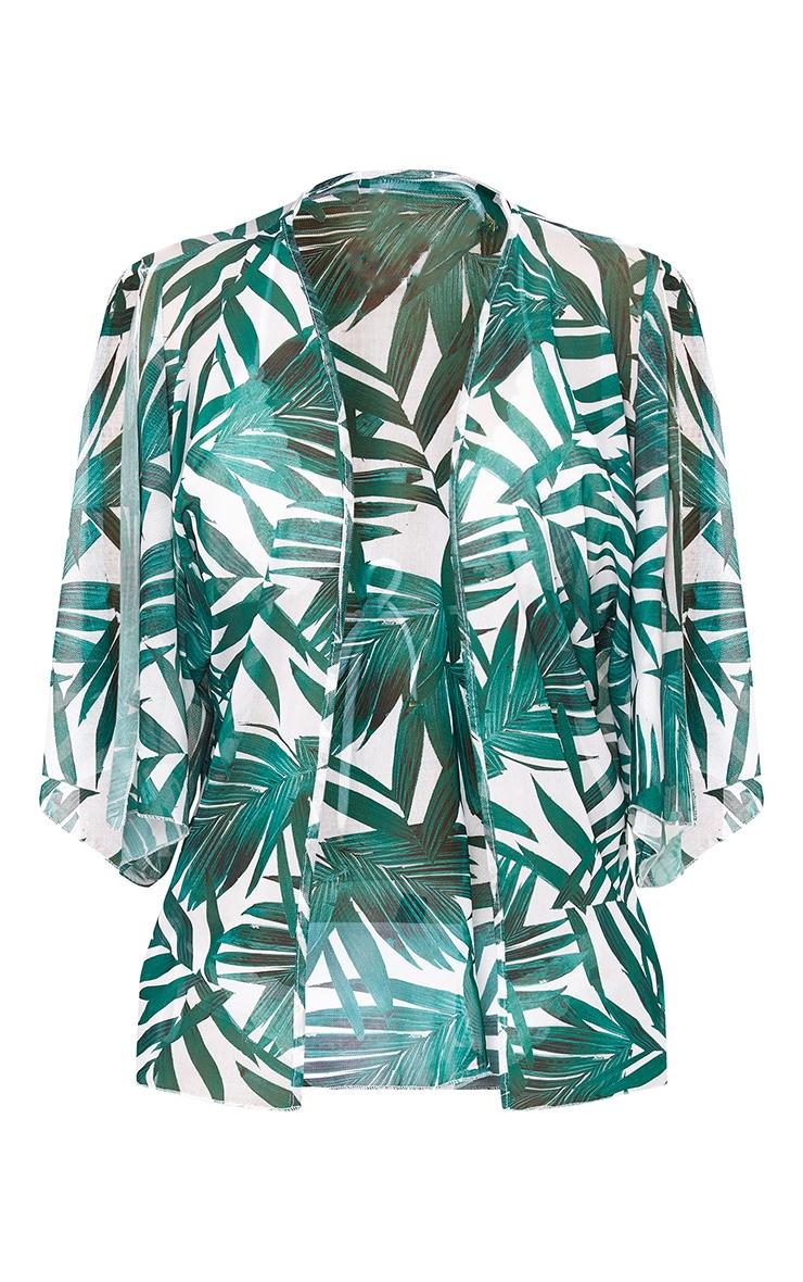 Green Palm Print Colder Shoulder Mesh Kimono 3