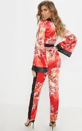 Red Oriental Print Plunge Tie Waist Jumpsuit 2