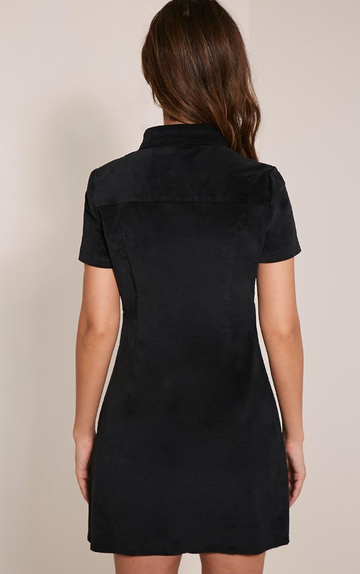 Adalia Black Sleeveless Cord Button Down Bodycon Dress 2