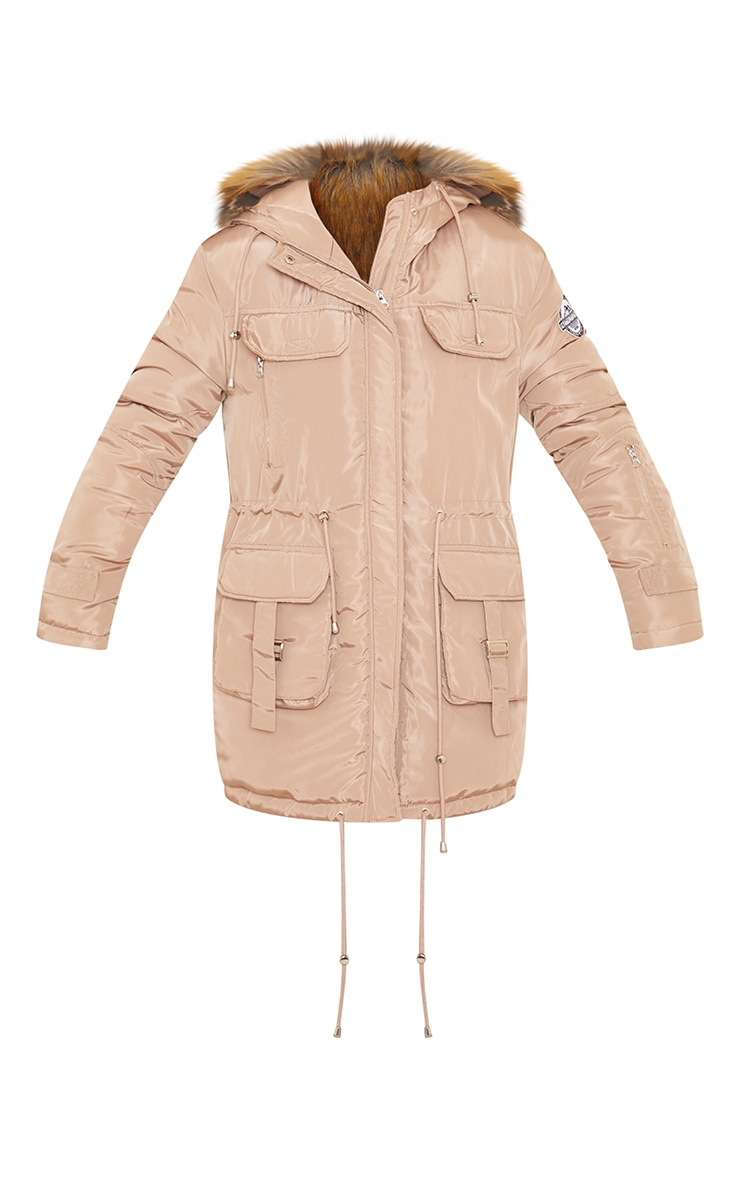 PRETTYLITTLETHING Recycled Taupe Nylon Faux Fur Hooded Parka Jacket 5