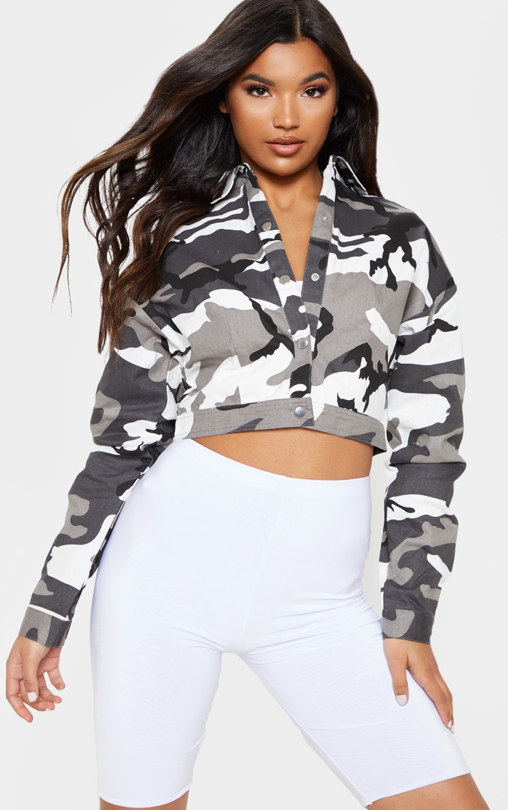 Grey Cropped Camo Trucker Jacket 4
