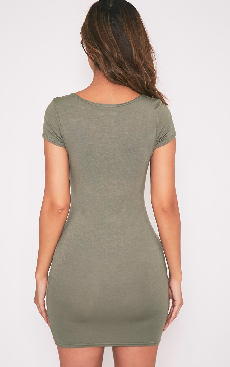 Basic Khaki Jersey Dress 2