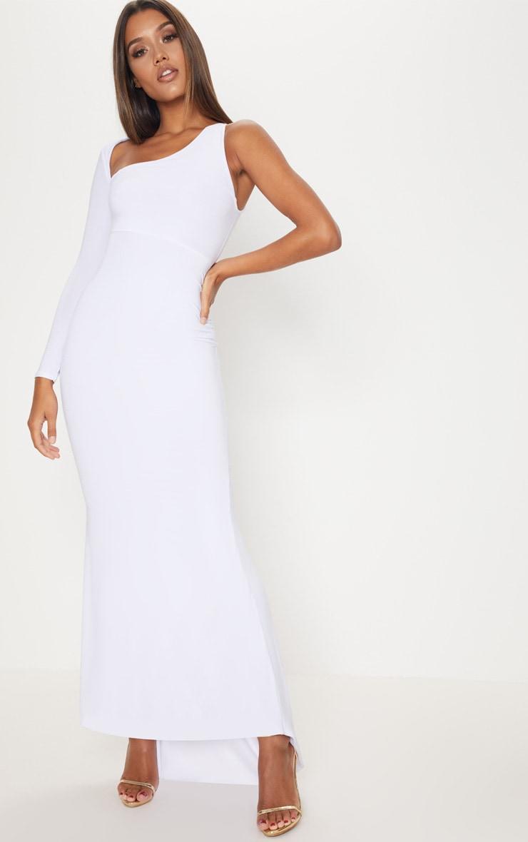 White Wrap Sleeve Maxi Dress 1
