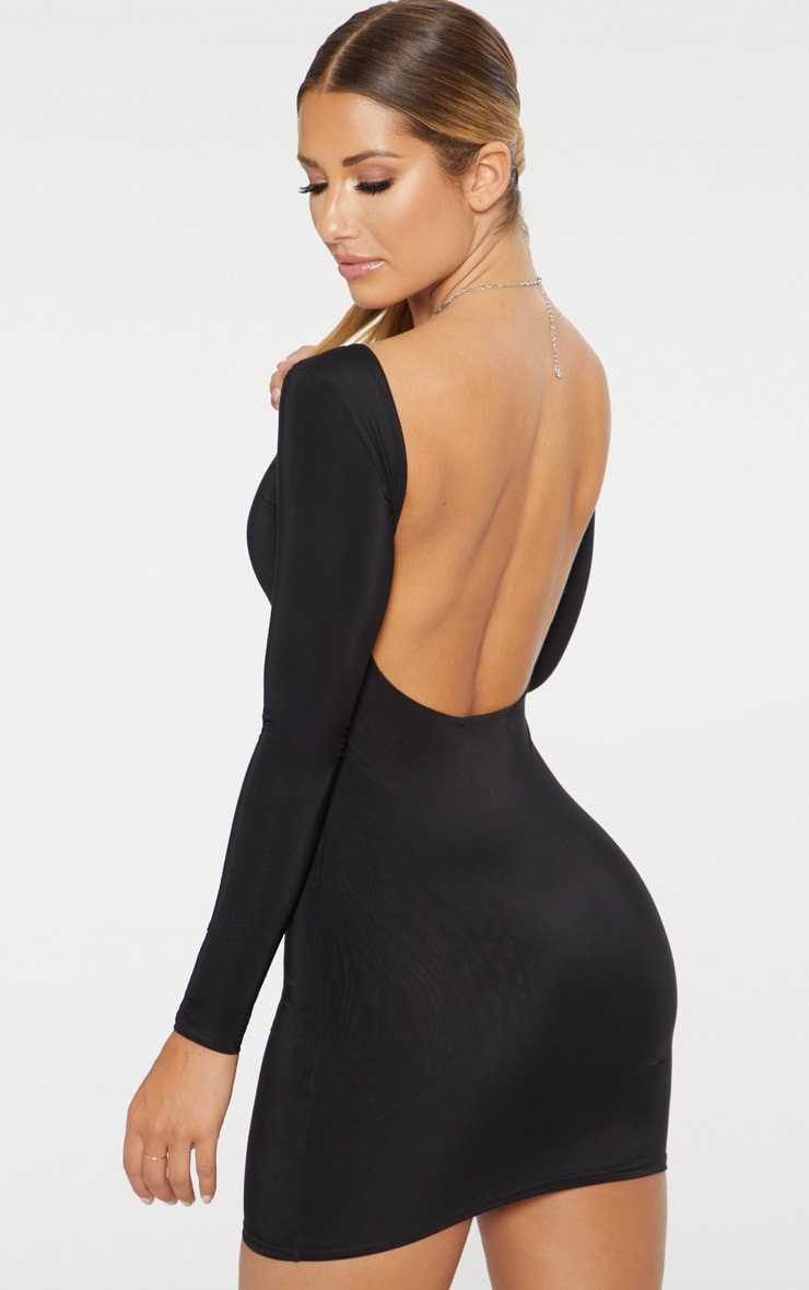 Black Second Skin Slinky Scoop Back Bodycon Dress 2