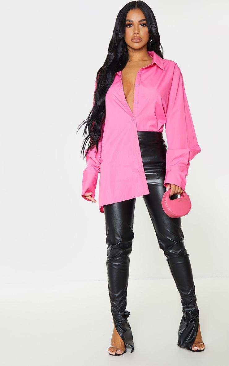Petite Pink Oversized Cuff Detail Shirt 1