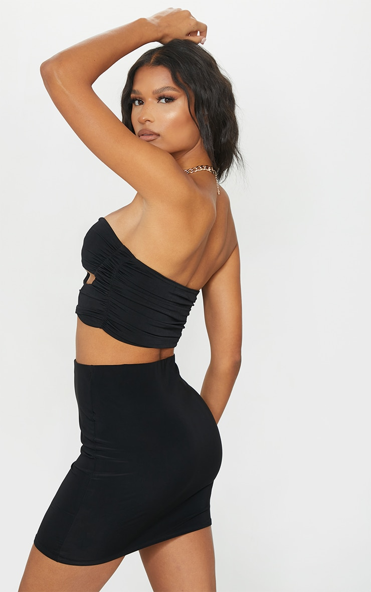 Black Slinky Cut Out Cup Detail Bandeau Top 2