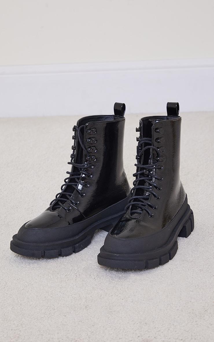 Black PU Lace Up Chunky Cleats Sole Biker Boots 3