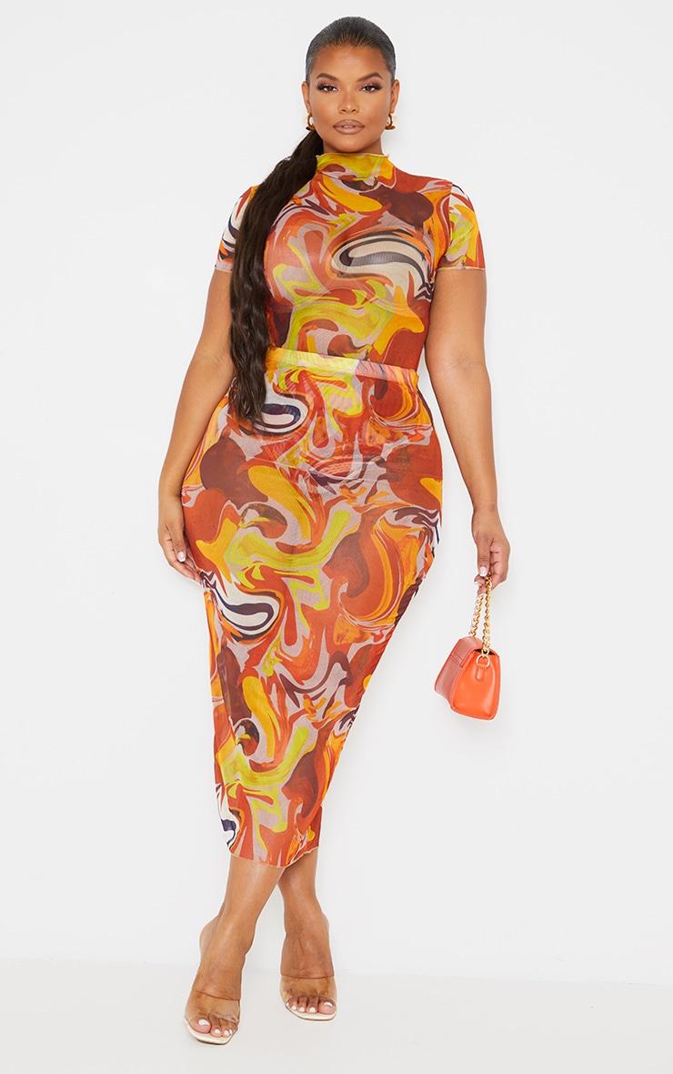 Plus Orange Marble Print Mesh Midi Skirt 1