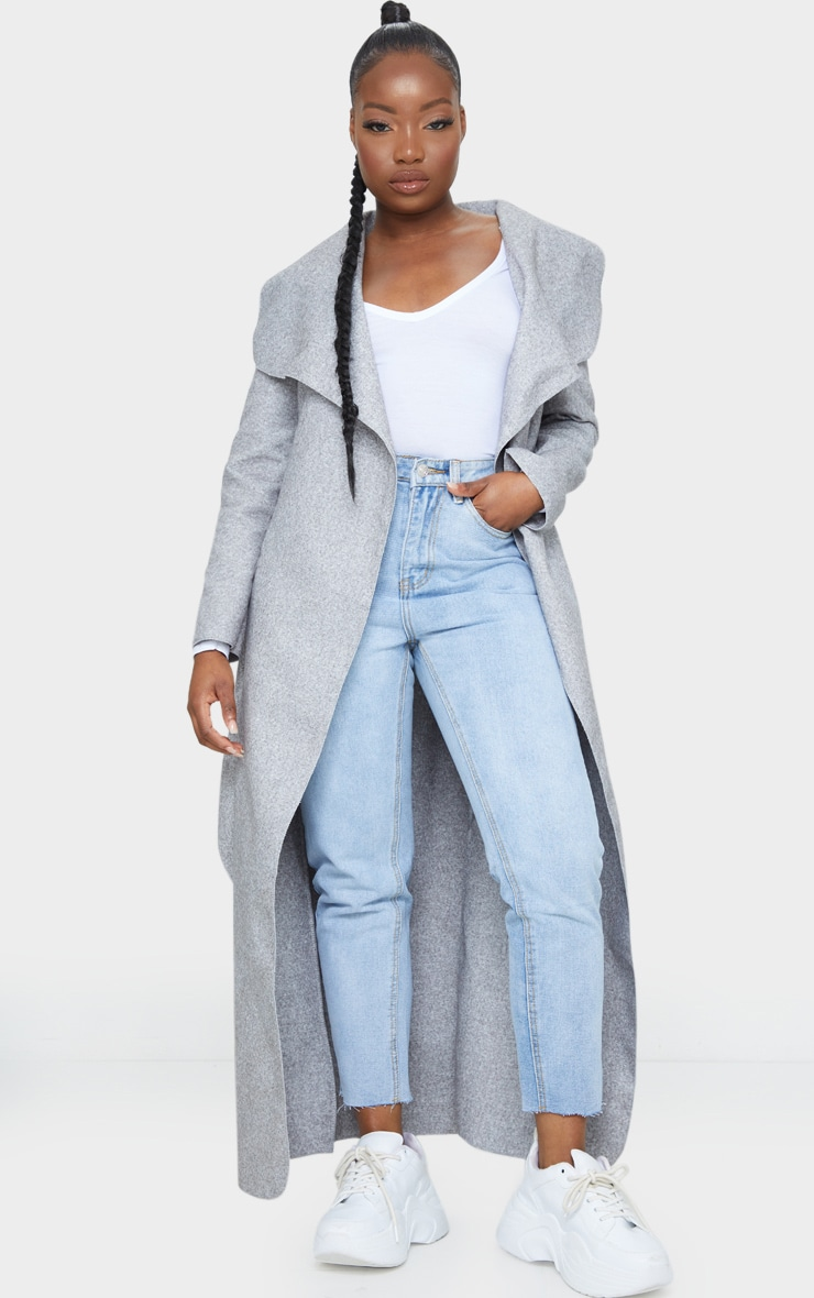 Petite Grey Maxi Length Oversized Waterfall Belted Coat 1
