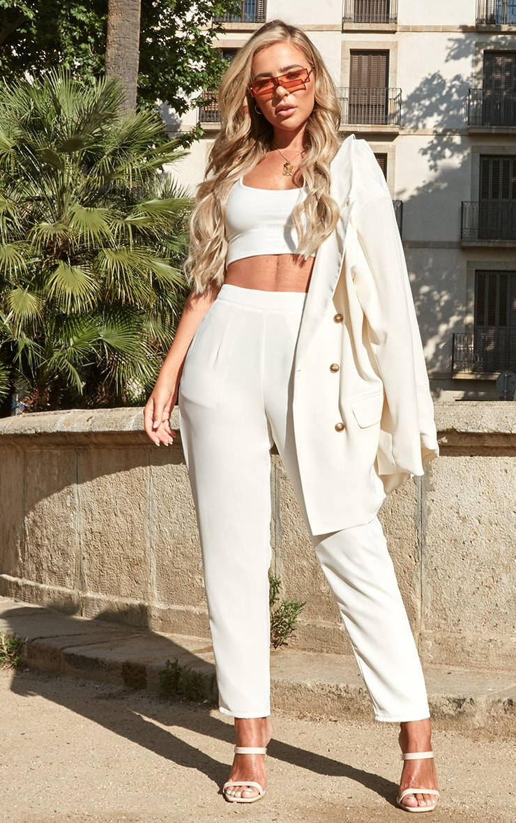 Petite Cream Slinky Low Scoop Neck Crop Top 4