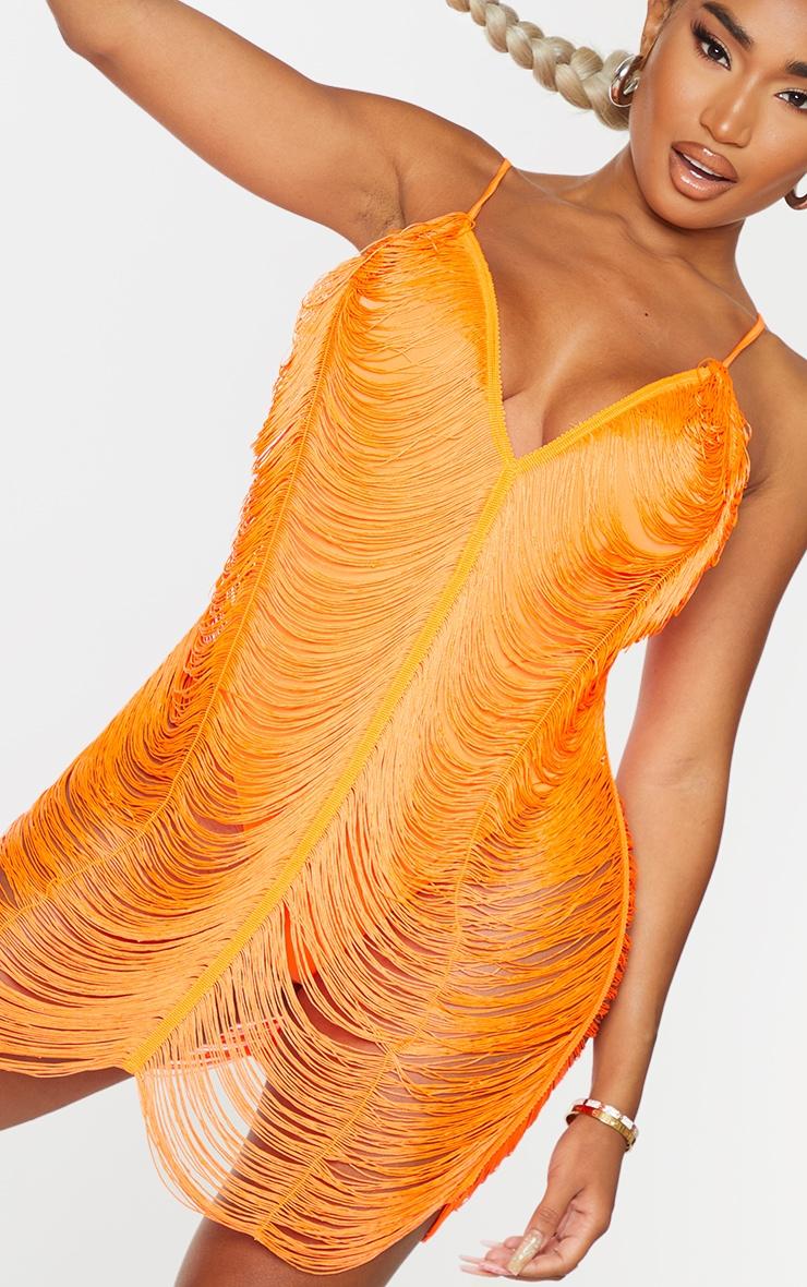 Shape Bright Orange Fringe Detail Bodycon Dress 4