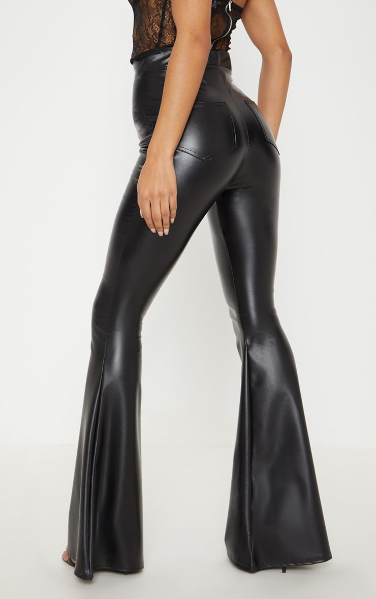 Black Faux Leather Flare Pants 4