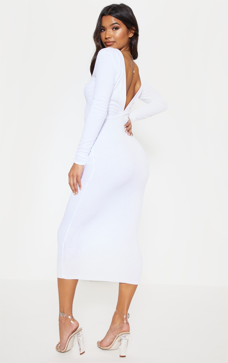 White Rib Popper Front Plunge Bodycon Dress 2