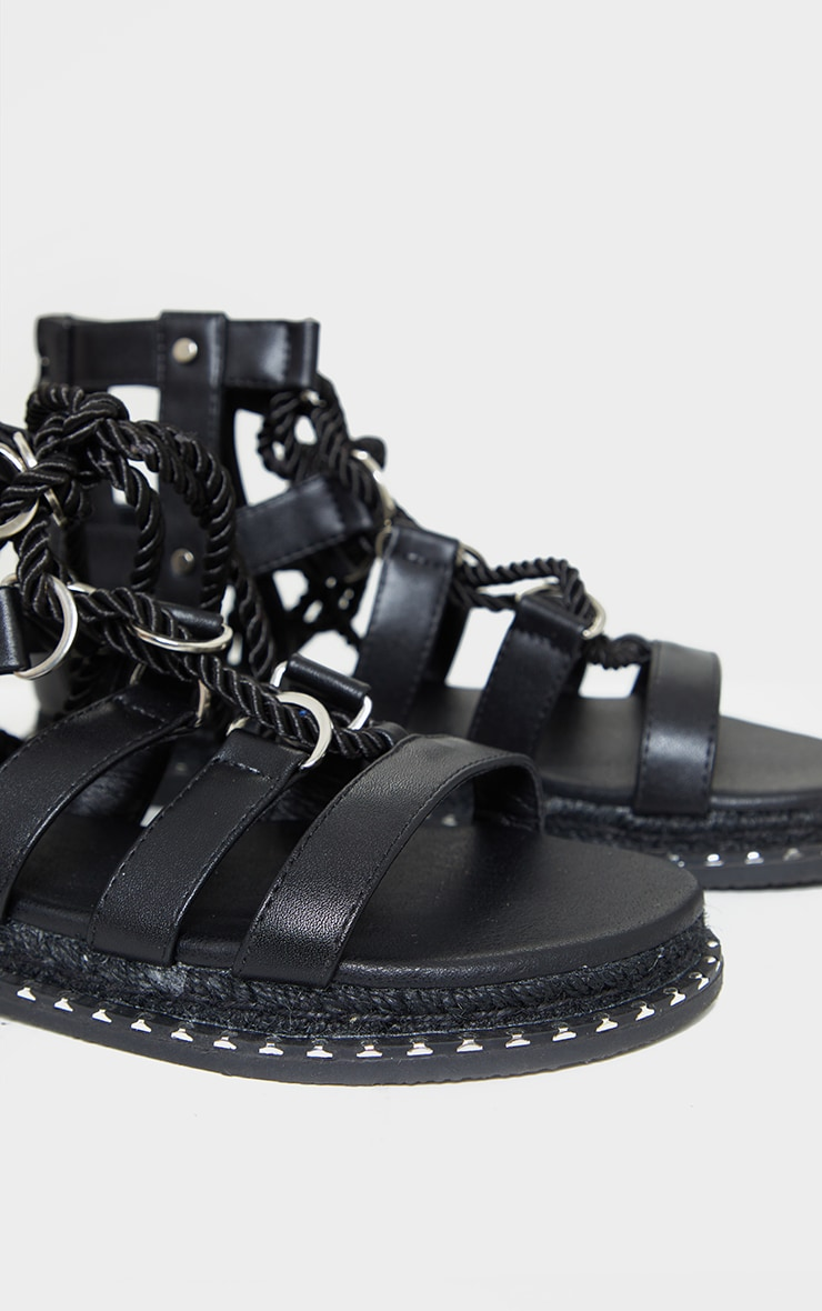 Black Stud Detail Lace Up Gladiator Sandals 4